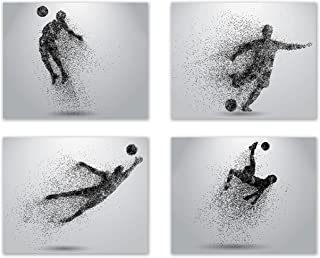 Soccer Wall Art Prints - Particle Silhouette - Set of 4 (8x10) Poster Photos - Man Cave- Bedroom Decor