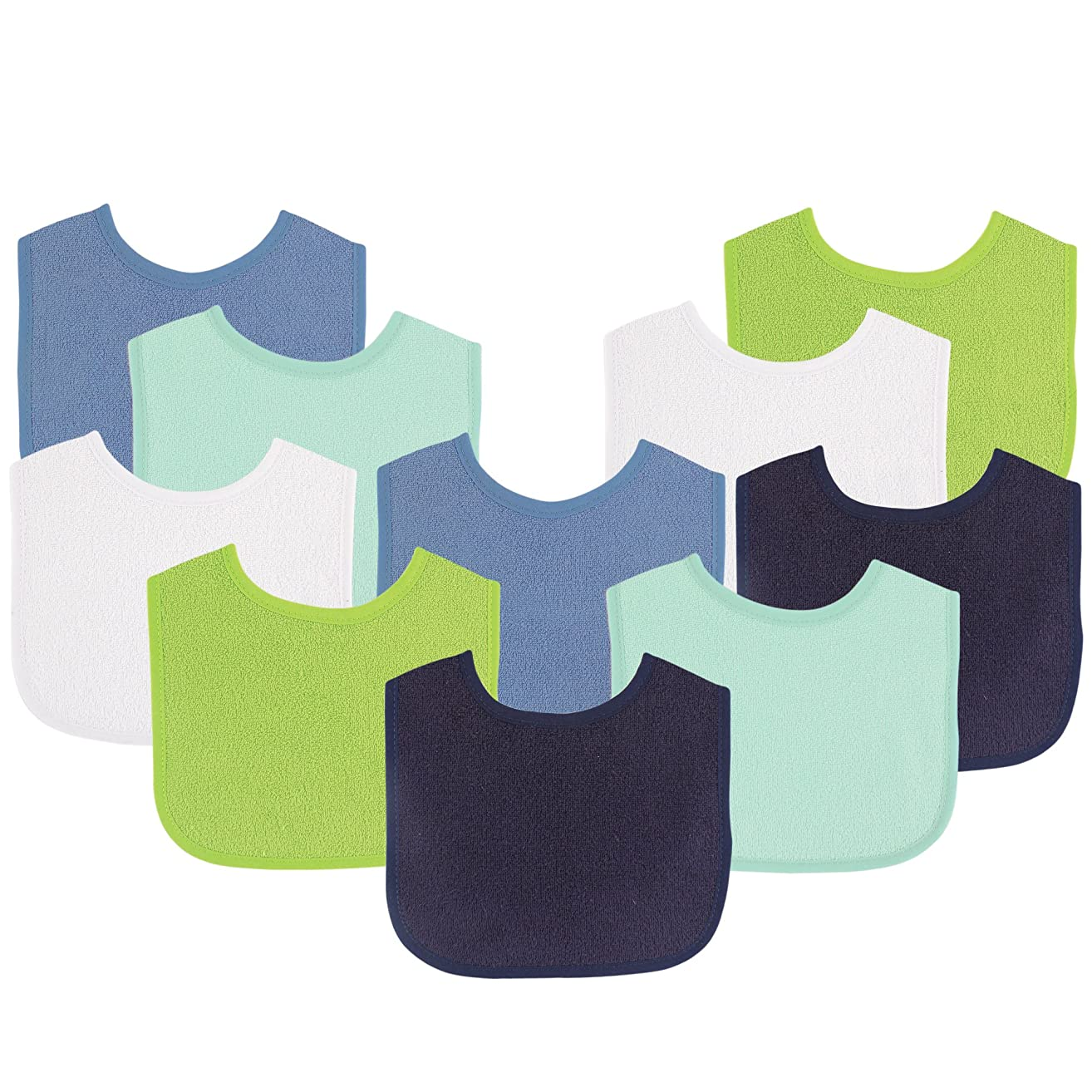 Luvable Friends Baby Bibs Value Pack, Navy/Lime, 6 x 7.5