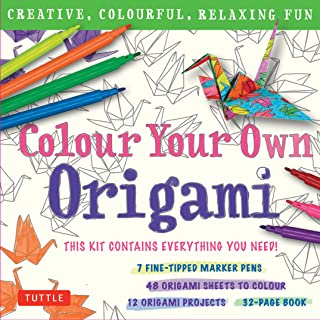 Colour Your Own Origami Kit (British Spelling): Creative, Colourful, Relaxing Fun: 7 Fine-Tipped Markers, 12 Projects, 48 Origami Papers & Adult Colouring Origami Book