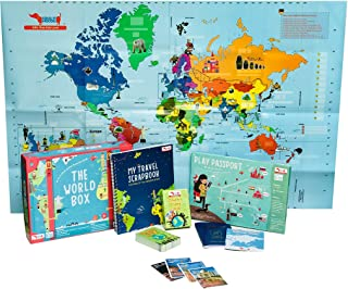 CocoMoco World Box- World Map Poster, Country Trump Cards, Travel Scrapbook, Play Passport for Kids- Educational Learning ...