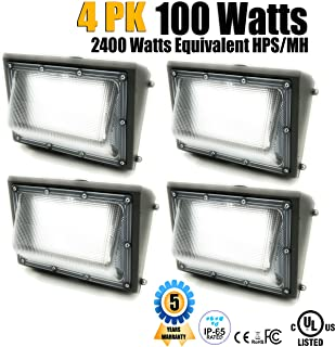 GENPAR 100W 4PK LED Wall Pack Light UL Listed 11000lm Lumen 6000K Daylight 600 Watt Equivalent HPS 5 Years WARR Waterproof Security Area Lighting, Outdoor Rated Replacement Lights Wallpack