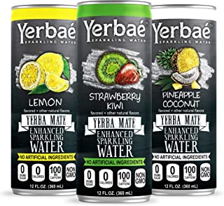 Yerbae Enhanced Sparkling Water, Natural Energy Drink with Yerba Mate Tea, Whole 30 and Keto Diet Friendly (Variety 12-pack) Lemon, Strawberry Kiwi and Pineapple Coconut