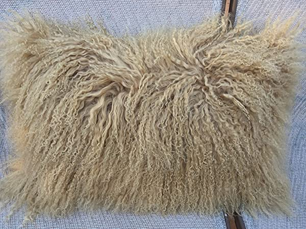 Genuine Mongolian Tibetan Lamb Fur Pillow Cushion Beige 12 X 20