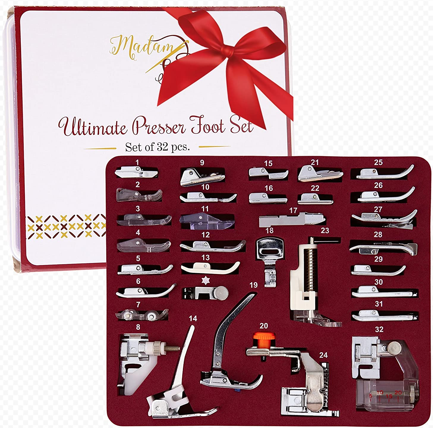 MadamSew Presser Foot Set 32 PCS - The ONLY One with Manual, DVD and Deluxe Storage Case with Numbered Slots for Easy and Neat Organization