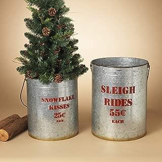 GIL S/2 Nesting Metal Galvanized H Christmas, 16.15InL x 16.15InW x 20InH, Grey