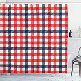 Ambesonne Vintage Shower Curtain, Checkered Gingham Plaid Pattern Traditional Scottish Tartan Classic Retro, Fabric Bathroom Decor Set with Hooks, 70 inches, Navy Blue Red White