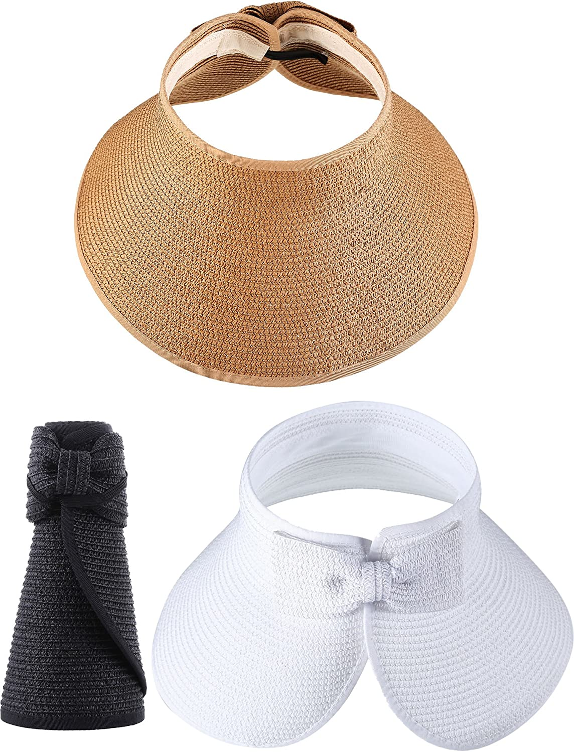 Hestya 3 Pieces Wide Brim Sun Visor Foldable Rollup Straw Sun Visor for Women Girls Beach Seaside Holiday, 3 colors