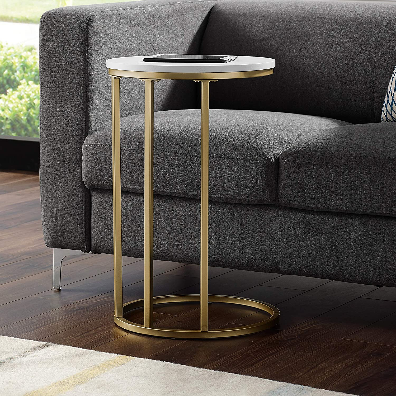 Walker Edison WE Furniture 16  Modern Round End Table-White Marble Top, gold Base