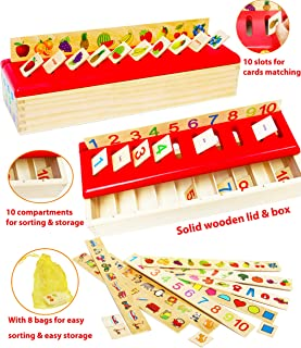 TOWO Wooden Sorting Toys for Baby - Wooden Sorting Box for Category Sorting - Wooden Matching Game Wooden Toys for 1 Year Old as Montessori Toys Educational Toys for Baby