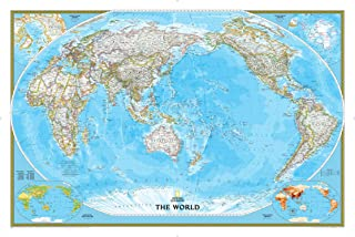 National Geographic World Classic, Pacific Centered Wall Map - 46 x 30.5 inches - Art Quality Print