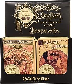 Chocolate Amatller - Hojas finas 70% cacao en Caja Metálica - 6 unidades