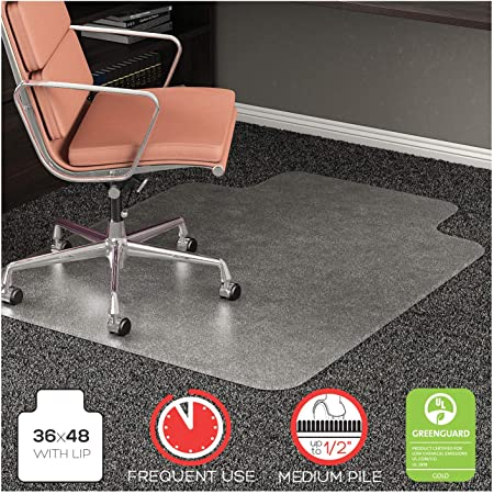 deflecto CM15113 RollaMat Frequent Use Chair Mat for Medium Pile Carpet 36 x 48 w/Lip Clear
