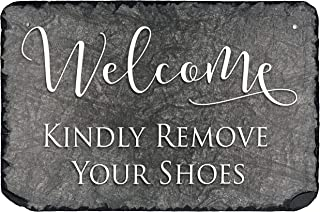 """Sassy Squirrel Beautifully Handcrafted and Customizable Slate Kindly Remove Your Shoes Sign (12""""x8"""" or 16"""