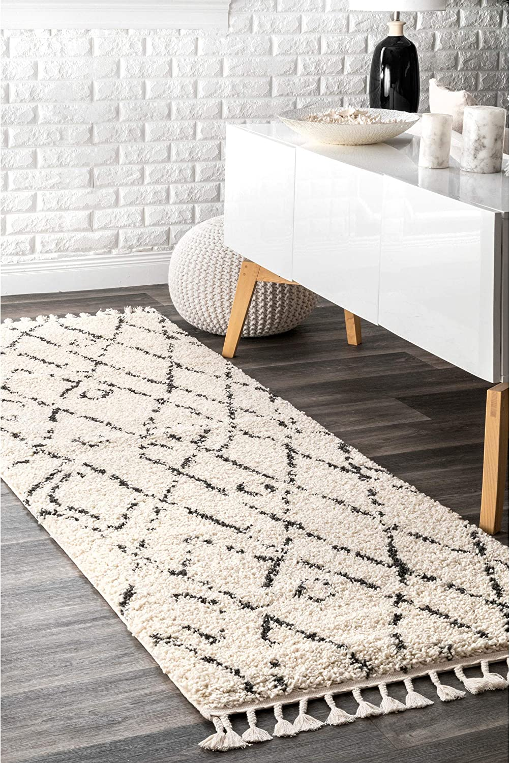 NuLOOM GCDI01A Nieves Mgoldccan Diamond Shag Runner Rug, 2' 8  x 8', Off White