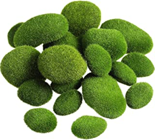 TecUnite 20 Pieces Artificial Moss Rocks Decorative Faux Green Moss Covered Stones (3 Size)