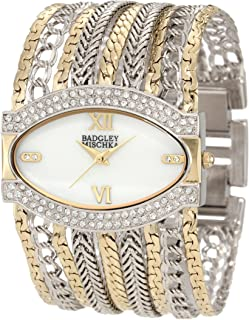 Badgley Mischka Women's BA/1203MPTT Swarovski Crystals Accented Two-Tone Multi-Chain Bracelet Watch