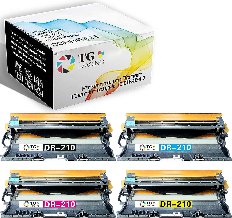 (4 Pack, Drum Unit) TG Imaging Compatible DR210 DR210CL Imaging Drum Unit DR-210 B+CYM for BrotherHL-3040CN HL-3045CN HL-3070CW MFC-9010CN MFC-9120CN MFC-9320CN MFC-9325CW Printer