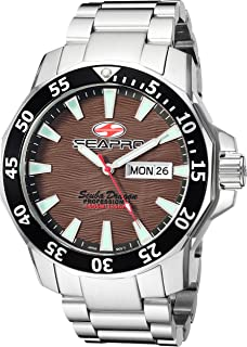 Seapro Men's Scuba Dragon Quartz Watch with Stainless-Steel Strap, Silver, 26 (Model: SP8315S)
