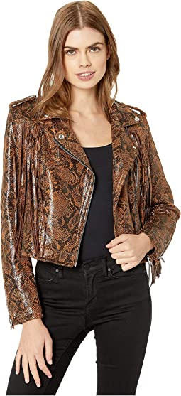 Faux Leather Snakeskin Fringe Jacket in Word Of Mouth