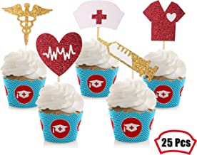Glitter Nurse Cupcake Toppers- Nursing Graduation Cupcake Toppers Medical Rn Themed Party Decorations Party Supplies (Set of 25)
