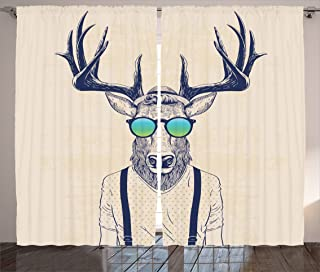Ambesonne Antlers Curtains, Illustration of Deer Dressed up Like Cool Hipster Fashion Creative Fun Animal, Living Room Bedroom Window Drapes 2 Panel Set, 108 X 84, Beige Black