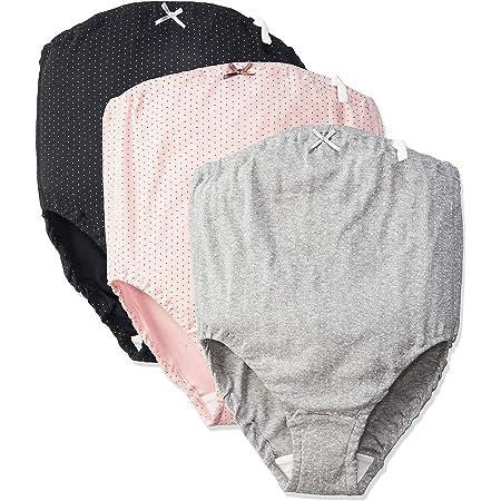 ローズマダム 肌にやさしい マタニティショーツ 綿100%でノンストレスの履き心地 ウエストゴム調整 お得な3枚組 7309 C-ピンクドット、グレードット、ブラックドット M-L