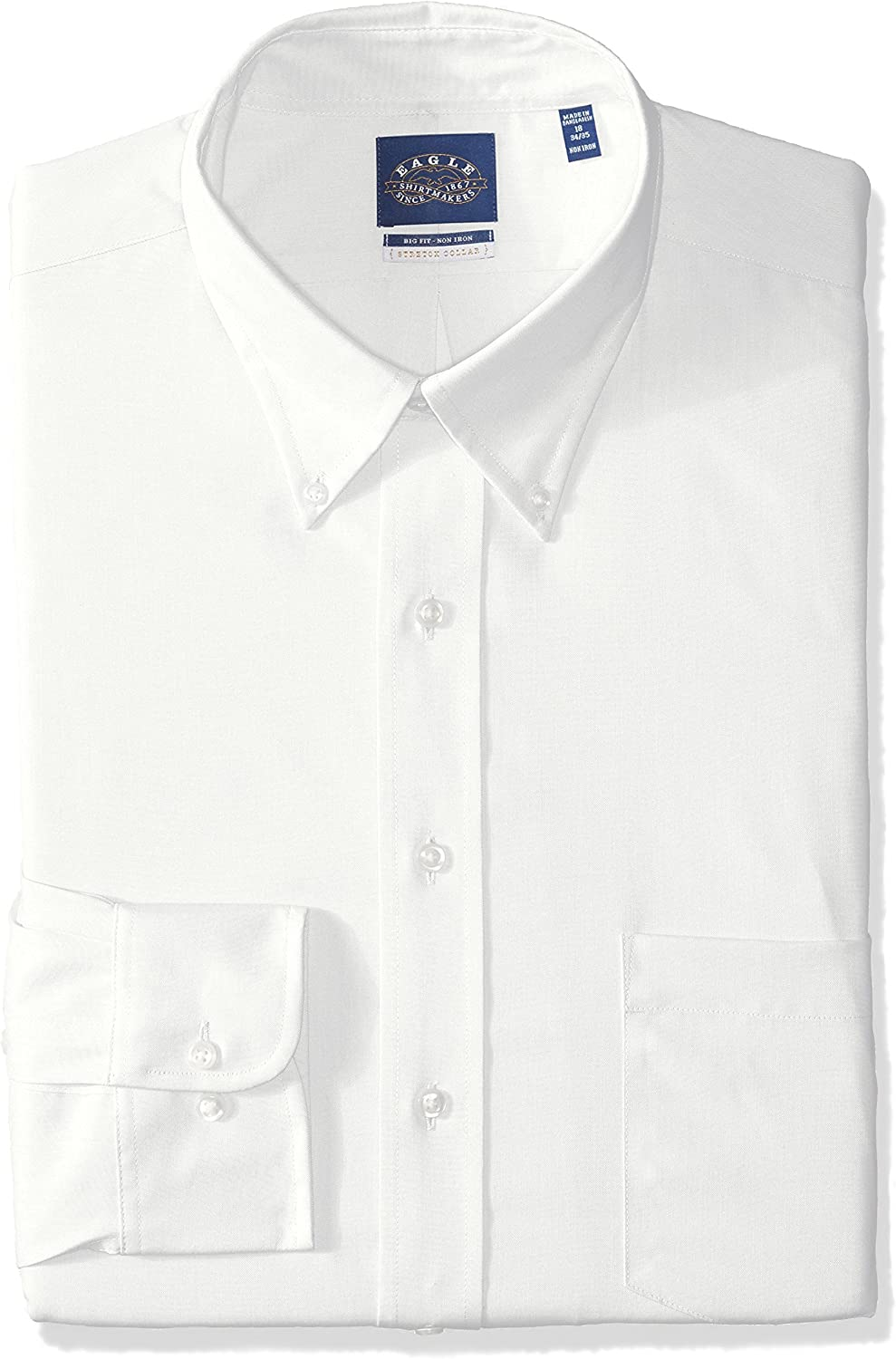 Eagle BIG FIT Dress Shirts Non Iron Stretch Button Down Collar Solid (Big and Tall)