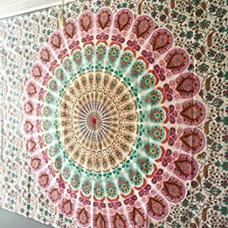 Jaipur Handloom Peacock Mandala Tapestries Hippie Tapestry Hippy Indian Dorm Decor Psychedelic Tapestry Wall Hanging Bohemian Bedspread Bedding Bed Cover Beach Blanket Picnic Sheet