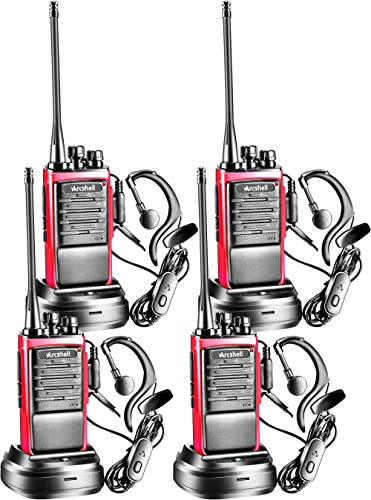 Arcshell Rechargeable Long Range Two-Way Radios with Earpiece 4 Pack Walkie Talkies UHF 400-470Mhz Li-ion Battery and...