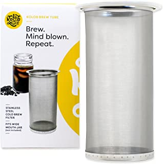 Brew Tube Cold Brew Coffee Maker - 1 or 2 Quart Stainless Steel Mesh Reusable Filter for Wide Mouth Glass Mason Jar
