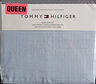 Tommy Hilfiger 4 Piece Queen Size Sheet Set Ithaca Thin Blue White Oxford Stripes