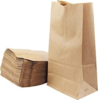"[200 Pack] Kraft Paper Bags 11 x 6 x 3.5"" 6 LB Grocery Lunch Retail Shopping Durable Bleached Barrel Sack"