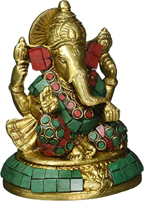 Colorful Stone Art God Ganesha Idol Brass Statue for Puja at Home 5 Inch