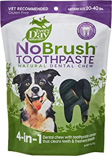 Every Day Naturals Dog Dental Chew, NoBrush Toothpaste for Medium Breeds, 14 oz Bag