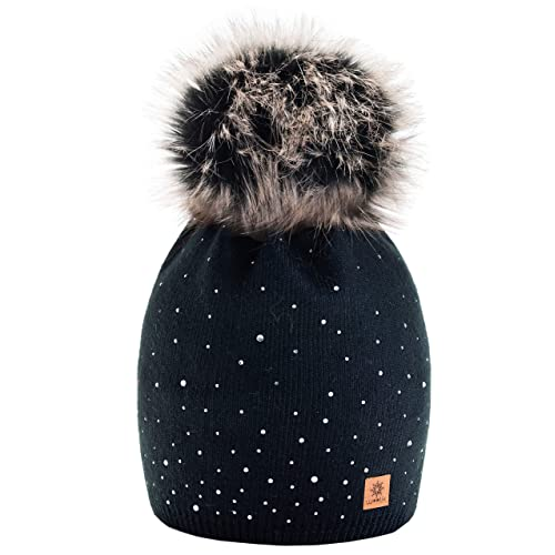 2ad4d11e445 Women Ladies Winter Beanie Hat Wool Knitted with Small Crystals Large Fur Pom  Pom Cap SKI