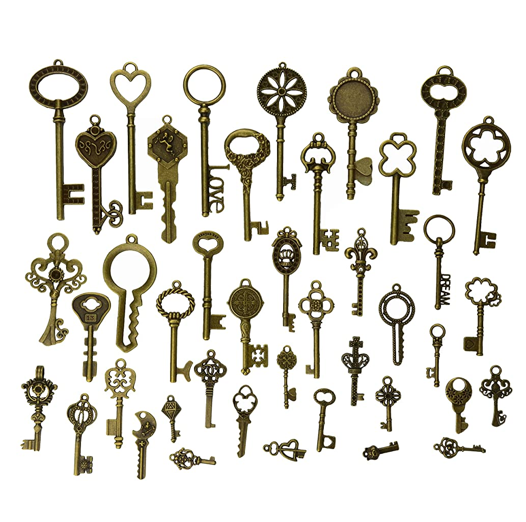 Makhry 42pcs Jewelry Making Charms Craft keys Decorative Key Skeleton Bronze Key in Antique Bronze Style for Wedding Graduation Christmas (Antique Bronze)