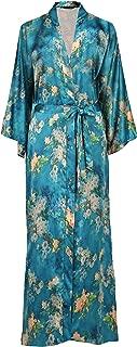 ArtiDeco Damen Morgenmantel Maxi Lang Seide Satin Kimono Kleid Blüten Muster Kimono Bademantel Damen Lange Robe Blumen Schlafmantel Girl Pajama Party 135 cm Lang