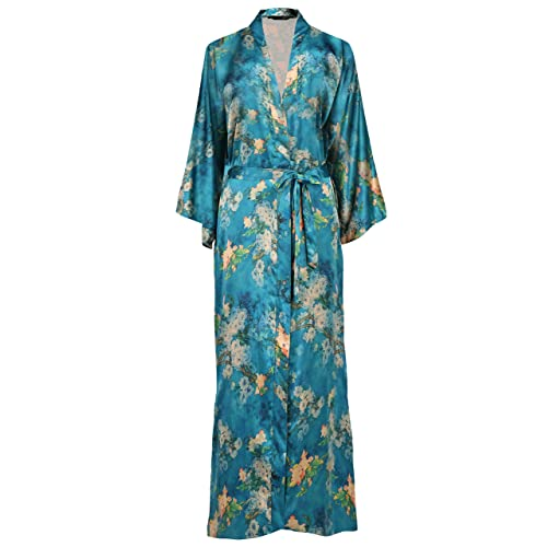 970d564f32 ArtiDeco Women s Kimono Dressing Gown Satin Kimono Robe Long Chinese  Japanese Style for Nightwear Girl s Bonding
