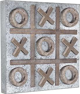 American Art Decor Magnetic Tic Tac Toe Wood Metal Game Board