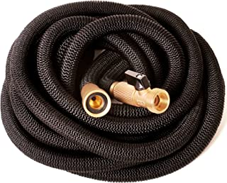 Riemex Expandable Hose 75 FT Black [New 2019] Heavy Duty Garden Water Hose - Triple Latex - Expanding Solid Brass Metal Fittings Connectors, Flexible Strongest - for All Watering Needs 75FT