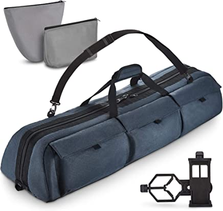 Multipurpose Telescope Case - Fits Most Telescopes - Best for Celestron AstroMaster 70/90, Powerseeker 80EQ, ORION 09001,Orion 09798 Infinity 50-60-70MM- Smart Phone Adapter Included, 40x10.6x7 inch