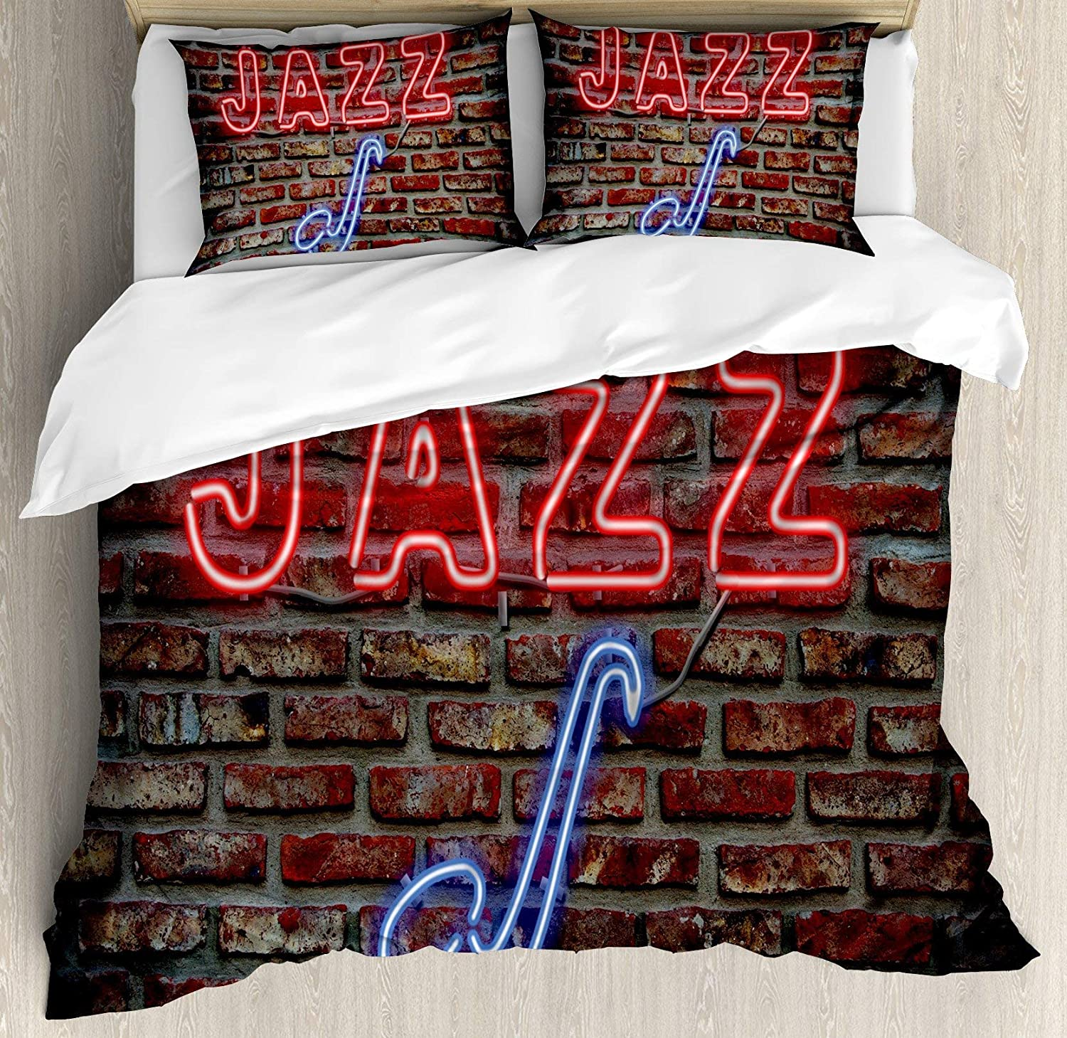 Music 4pc Bedding Set Full Size, Image Alluring Neon All Jazz Sign Saxophone Instrument on Brick Wall Print Floral Lightweight Microfiber Duvet Cover Set, Red bluee