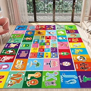 PartyKindom Kids Play Rug Mat Playmat with Non-Slip Design Playtime Collection ABC, Shape, Season, Month, Opposite and Ani...