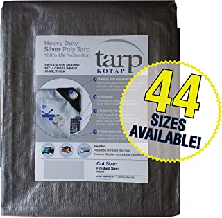 Kotap 8-ft x 20-ft Heavy-Duty 14 by 14 Cross Weave UV Blocking 10-mil Silver Poly Tarp, Item: TRS-0820