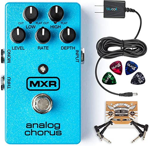 MXR M234 Analog Chorus Pedal Bundle with Blucoil Slim 9V 670mA Power Supply AC Adapter, 2-Pack of Pedal Patch Cables, and 4-Pack of Celluloid Guitar Picks