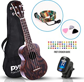 Pyle, 4-String Learn to Play Kit-Solid Wood Mahogany Soprano Ukulele Professional Instrument with Flamed Brown Body, Black Walnut Fingerboard and Bridge PUKT5580