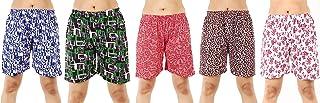 MUKHAKSH (Pack of 5 Women's/Girls/Ladies Hot Soft Cotton Printed Shorts/Lounge Shorts/Night Shorts/Nikar, Prints May Vary