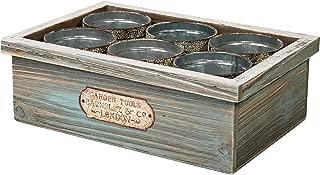 SLPR Wooden Crate with Tin Cans | Succulent Planters Cactus Flower Plant Pot Container Mini Pots Wooden Storage