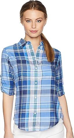 Petite Plaid Cotton Twill Shirt