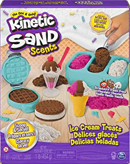 Kinetic Sand Scents, Ice Cream Treats Playset with 3 Colors of All-Natural Scented Play Sand and 6 Serving Tools, Sensory ...